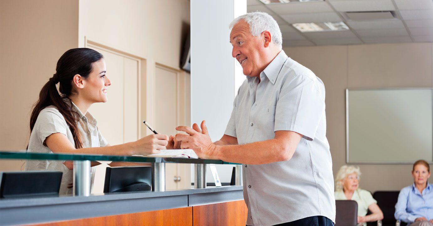 A man seeking advice at a desk