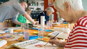 People enjoying arts and crafts